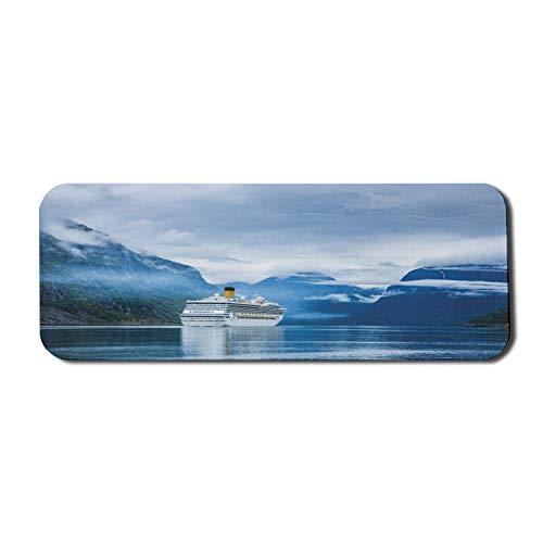 Holiday Computer Mouse Pad, Kreuzfahrtschiffe auf Hardanger Fjorden, Norwegen Berg Sommerferien Landschaft, Rechteck rutschfeste Gummi Mousepad groß blau grün weiß