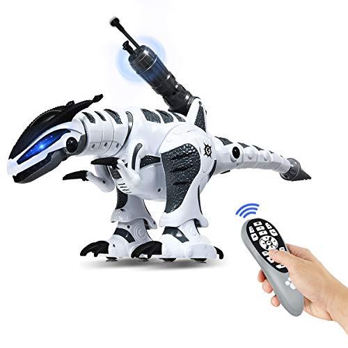 COSTWAY RC Interaktiv Dinosaurier Roboter mit Sound & LED-Effekte, Ferngesteuerter Dino Roboter programmierbar mit Kampfmodus, Musik-, Tanz- und Schießfunktion, für Kinder über 3 Jahre alt (Weiß)