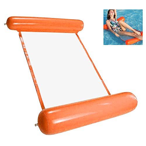 WELLXUNK® Uppblåsbar vattenhängmatta, luftmadrass pool uppblåsbar hängmatta, vikbar flytande säng 4-i-1 loungefåtölj pool lounge, vattenhängmatta säng soffa för vuxna