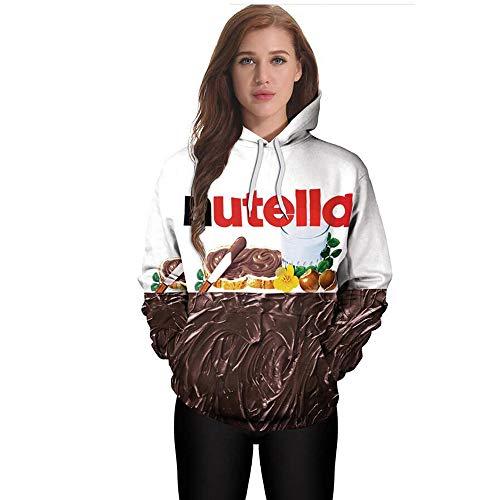 Lulupi Damen 3D Druck Kapuzenpullover Hoodie Weihnachten Pullover Schokolade Cartoon Kapuzenpulli Herbst Winter Kapuzen Langarm Sweatshirt