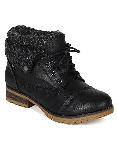 Refresh WYNNE-01 Women's combat style lace up ankle bootie,Wynne-01 Black (9)