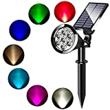 MEIHONG Colored Solar Spotlight, 7 LED Adjustable Solar Landscape Lighting, Waterproof Wall Light Solar Lights Outdoor with Auto On/Off for Garden Decorations (Changing Color & Fixed Color) (1 Pack)