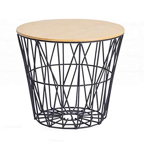 NAN Anself Vintage Table Ronde en Bois Table Basse Tables d'appoint Table en métal courbé