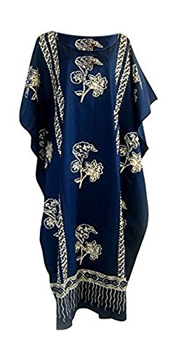 Cool Kaftans Java Bedrückte Baumwolle Strandkaftan Kaftankleid Einheitsgröße Übergröße Damen Hand Made Batik Strand - Blau, XXL