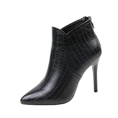 ajunr de After Martin Pointed Boots femelle Zipper Bottes Boots High Heeled Shoes with a Fine 10 cm d'hiver Plaid Tout Match 39 noir
