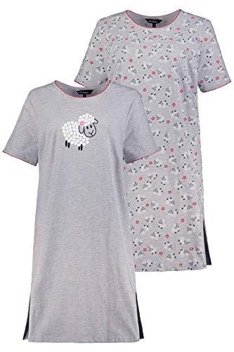 Ulla Popken Damen große Größen Big-Shirt 2er Pack, Schaf Nachthemd, Grau (Hellgrau-Melange 72792313), 54-56