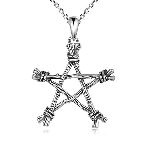 YFN Collar de pentagrama de plata de ley con colgante de pentagrama gótico, punk, joyería sobrenatural, regalo para mujeres y hombres
