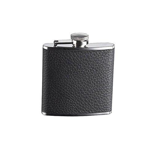 Flasque inox gaine cuir graine noir - 150 ml - Bouchon Baionnette