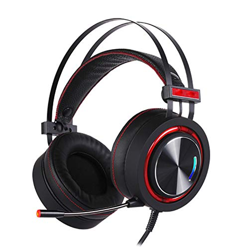 E-Sports Game Headset, Metal Brushed Ear Shell Wired Headset, 50MM Speaker Unit, LED Cool Color, met High Sensitivity Microphone, size, Rood