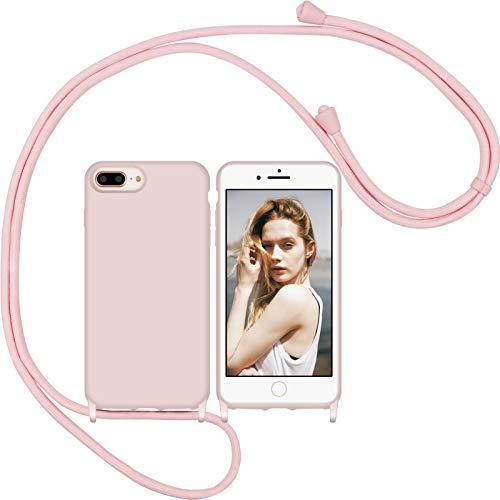 Nupcknn Funda Silicona con Cuerda para iPhone 7 Plus/iPhone 8 Plus, Carcasa Suave Silicona Case con Correa Colgante Ajustable Collar Correa de Cuello Cadena Cordón(Oro Rosa)