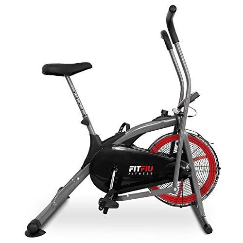 Fitfiu BELI-150 elliptisches Fahrrad, Luftwiderstand, mit LCD-Display, Air Bike, Erwachsene, Unisex, Schwarz, 93 x 20,5 x 66 cm