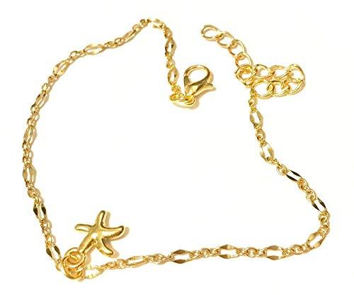Dos pulseras de tobillo con cadena de pie, estrella de mar dorada