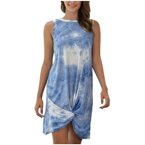 MOMFEI Vestido corto casual para mujer, cuello redondo, sin mangas, suelto, con teñido anudado, Azul claro, L
