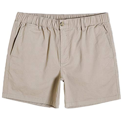 maamgic Men's Classic-fit 5.5' Cotton Casual Shorts Elastic Waistband with Multi-Pocket Daily Wear Walking Summer Outfit Dark Khaki