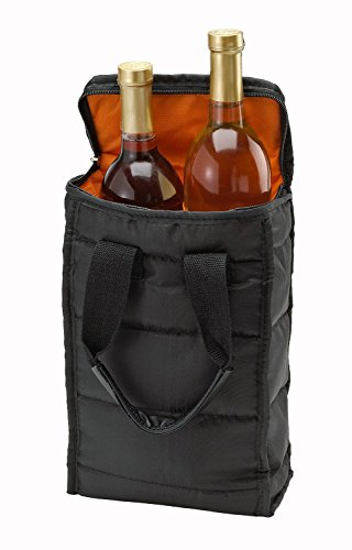 Wine Carrier Tote Bag - 2 Bottle Pockets - Attractive wine bag with thick external padding, zipper and easy to carry handles. The wine tote bag is perfect for travel, picnics or a day at the beach.