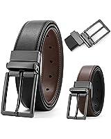 SOPONDER Men Belt Belts for Men Reversible Belt Black Rotated Buckle Reversible Leather Dress Business Casual Belts Brown Black 38 Belt 35&36 Waist Size