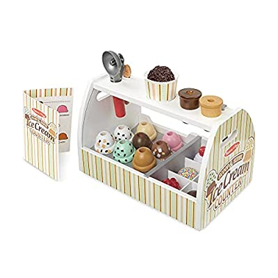 Melissa & Doug Wooden Scoop and Serve Ice Cream Counter (28 pcs) - Play Food and Accessories from Melissa & Doug