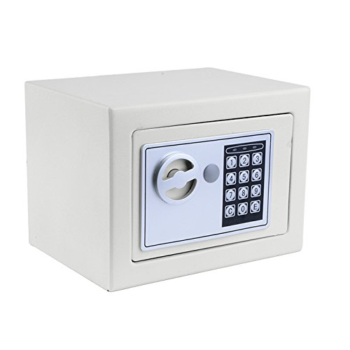 Digital Safe Box Small Home Office Security Safe with Digital Lock Wall Cabinet Safe for Jewelry Money Gun Valuables,Solid Steel Free Gift with 4 Batteries (White)