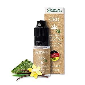 Premium CBD Liquid Vanille und Matcha Grüner Tee von Breathe Organics | CBD Liquid 10 ml | VG max | nikotinfrei | aus Deutschland