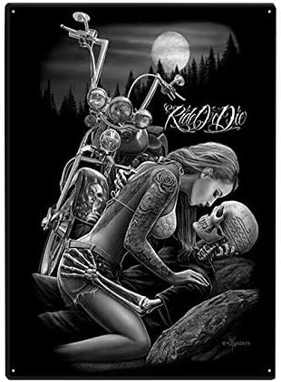 12 X 8 Inch Tin Sign Ride or Die Lovers Motorcycle Skull.Vintage Iron Painting Metal Plate Novelty