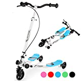 Wesoky 3 Wheel Scooter for Kids, Swing Scooter Wiggle Scooter 3 Wheels Drifter for Boys and Girls Age 5 Years Old and Up (Blue)