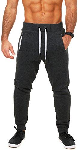 Young & Rich Herren Baggy Freizeithose Sporthose Sweatpants Jogginghose Trainingshose tief sitzend drop crotch low , Grösse:M;Farbe:Dunkelgrau