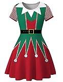 PIZOFF Womens Short Sleeve Casual A-Line Christmas Elf Dress AM123-04-M