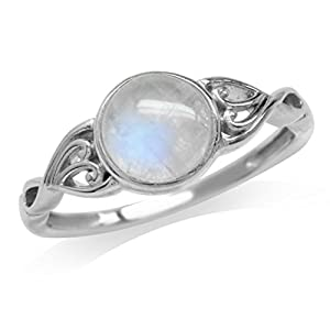 Silvershake 7mm Natural Moonstone 925 Sterling Silver Victorian Style Solitaire Ring Size 10