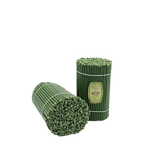 Diveevo - Velas de cera de abeja con aroma de miel (300 unidades, 205 x 6,6 mm, duración de combustión: 1 hora, 20 min), color verde
