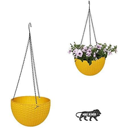 MOM'S GADGETS Multicolor Round Rattan Woven Plastic Flower Hanging Planter/Beautiful Round Gamla Pot/Flower Hanging Pot for Garden Balcony (1 PC)