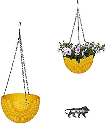 MOM'S GADGETS Multicolor Round Rattan Woven Plastic Flower Hanging Planter/Beautiful Round Gamla Pot/Flower Hanging Pot for Garden Balcony (1 PC)
