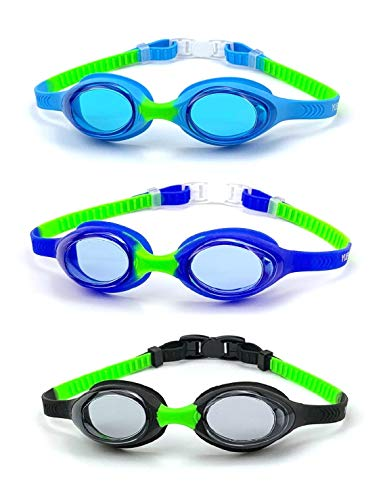 Yuenree Kids Swim Goggles 3 Pack - Swimming Goggles for Toddlers Kids Children Boys Girls Ages 3-14 - No Leak, Anti-Fog, UV Protection, Easy to Adjust and Non Slip - with 3 Hard Travel Cases