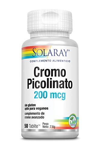 Solaray Chromium Picolinate 200mcg | Picolinato de Cromo | 50 Tabletas