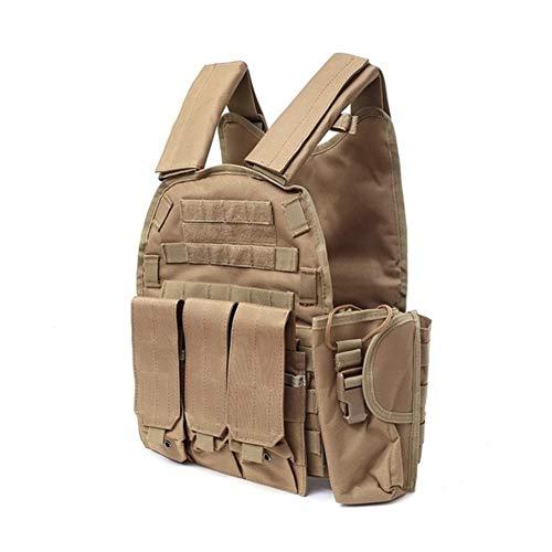 Taktische Weste Tactical Vest 900D Nylon Body Armor Jagdtellerhalter M4 Pouch Kampfausrüstung (Color : Khaki, Size : One Size)