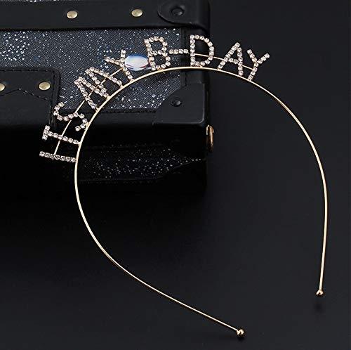 ITS MY B DAY Birthday Tiara Headband Headpiece Girls Party Hair Accessories Gold Crystal It's My Birthday Hair Hoop