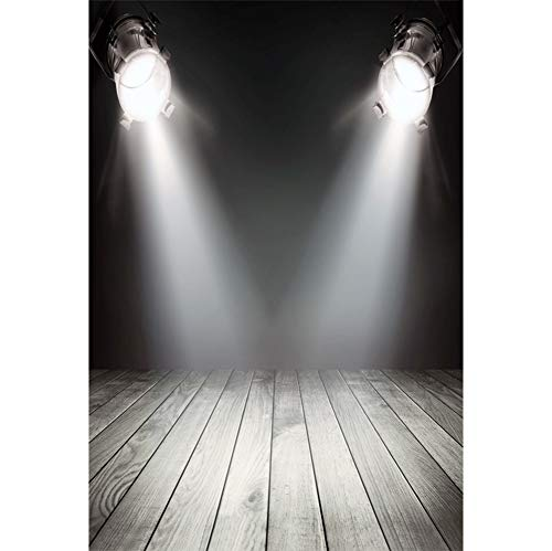 Leyiyi Stage Spotlight Backdrop 6.5x10ft Photography Background Rustic Nightclub Show Singing Performance Countryside Bar Talk Show Vintage Texture Wooden Board Kids Adult Video Props