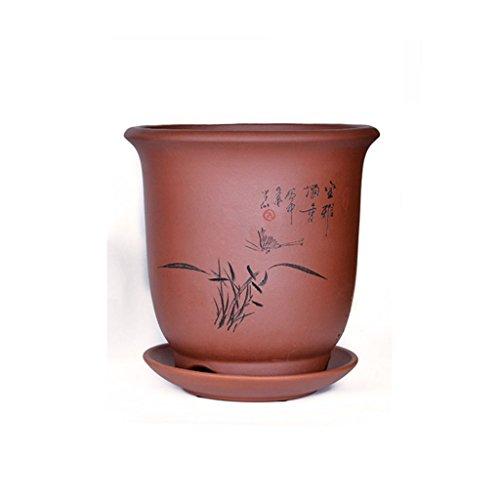 Pot de fleurs BOBE Shop d'orchidée de Sable Pourpre avec Plateau Planteur de Pot de Plante succulente en céramique 21 * 21 * 22CM (Couleur : #1)