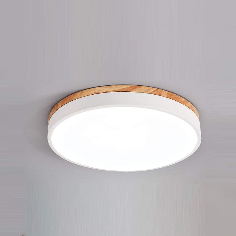 L@LILI LED Holz Deckenleuchte Runde Ultradünne Schlafzimmer Studie Deckenleuchte Schmiedeeisen Persnlichkeit Innenbeleuchtung 30 cm,g,Weißlight