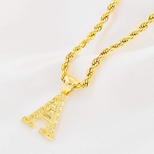 FQSCX Collar Colgante joyería AZ Letras Collares Mujeres Hombres Color Dorado Colgante Inicial Cadena de Cuerda Letra Inglesa Joyería Alfabeto 45 cm o 17,7 Pulgadas B