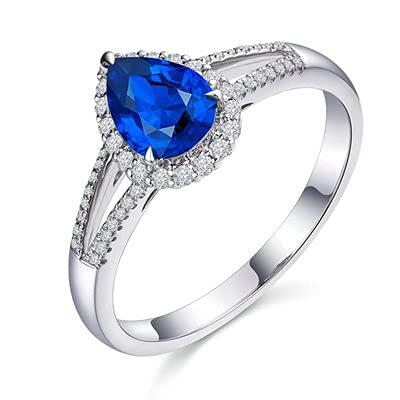 Bishilin Alianzas Oro Blanco 750, Lágrima Zafiro 0.8ct Diamante Anillo de Alianza de Boda de Compromiso de Aniversario Regalos para Cumpleaños Navidad Azul Plateadotamaño: 21