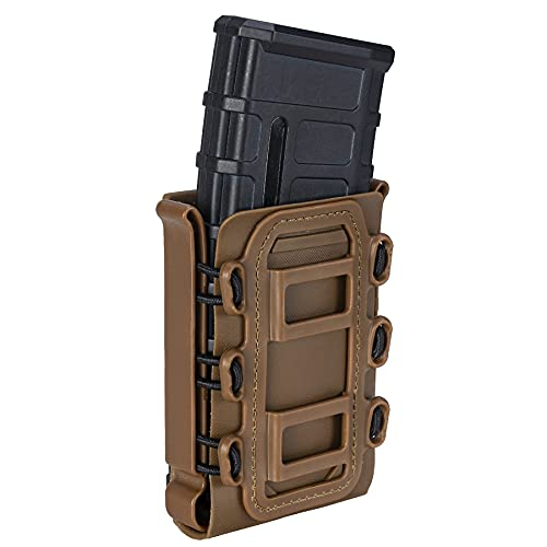 IDOGEAR Mag Pouch 5.56mm 7.62mm Rifle Magazine Pouches Molle Fastmag Softshell Universal Mag Carrier for Airsoft Shooting M4 AR M16 (Coyote Brown)
