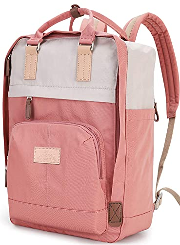 Rucksack Damen Groß 17 Zoll, ONKING Premium Langlebiges Modernes Wasserdicht Schulrucksack mit Plüsch Laptopfach Backpack für Uni. SchuleReisen Arbeiten (Rosa)