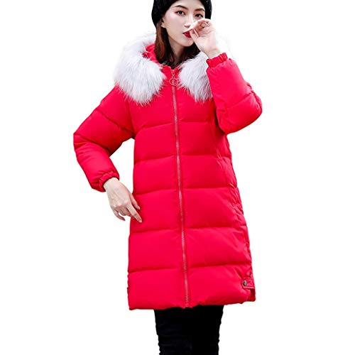 Dasongff wollen mantel wintermantel dames lange volle kleur volledige ritssluiting met capuchon outdoor winddichte herfst winter warme trenchcoat outwear meisjes casual slank outdoor wild coat Small rood