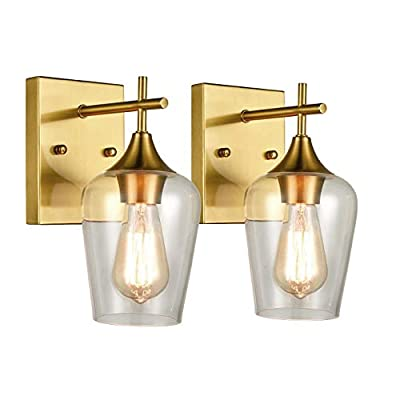 Brass 2 Pack Glass Sconces Clear Glass Wall Sconces Industrial Bathroom Vanity Lighting