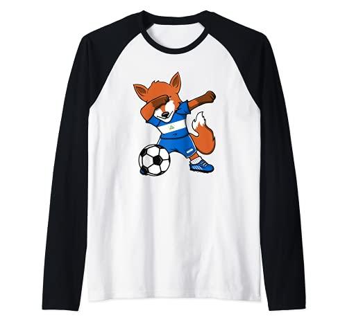 Dabbing Fox Nicaragua Soccer Fans Jersey Nicaragua Football Raglan Baseball Tee