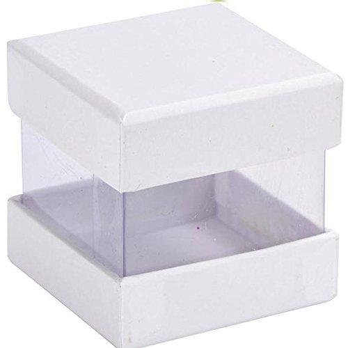 kubus met deksel en uitzicht ramen, wit, 6 stuk dozen, gast geschenken