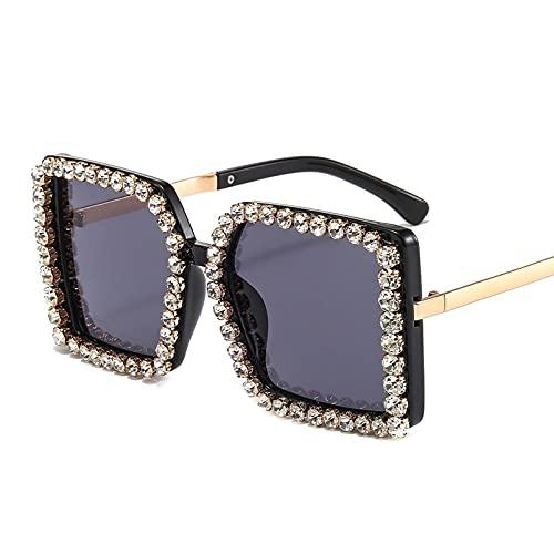 AMFG Gafas de sol de marco grande cuadrado retro Trend Street Shooting Gafas de sol Red Celebrity Fashion Gafas de sol (Color : A, Size : M)