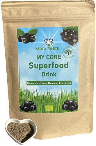 More Years® für DICH! Bio Superfood Drink + lokales & nachhaltiges Produkt + Gersten-, Weizen- & Dinkelgras, Aronia, Schwarze Johannisbeeren und Wildheidelbeeren + 210g + Baum gepflanzt