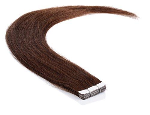 Lot de 10 extensions de cheveux naturels Remy Tape On/In - 40 cm - Avec bande blanche extra forte (06 - Brun moyen)
