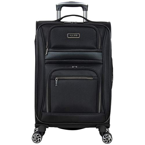Kenneth Cole Reaction Rugged Roamer Luggage Collection Lightweight Softside Expandable 8-Wheel Spinner Travel Suitcase Bag, Black, 20-inch Carry-On